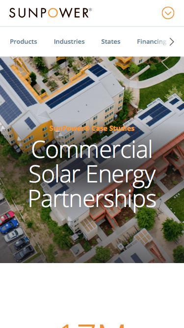 Screenshot of Case Studies Page  sunpower.com - Commercial Solar Case Studies & Customer Reviews | SunPower