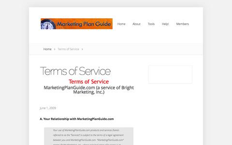 Screenshot of Terms Page marketingplanguide.com - Terms of Service | marketingplanguide.com - captured Oct. 4, 2014