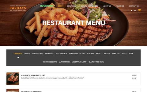 Screenshot of Menu Page rashays.com - Restaurant Menu - Kid Friendly Restaurants | RASHAYS Sydney - captured Oct. 19, 2017