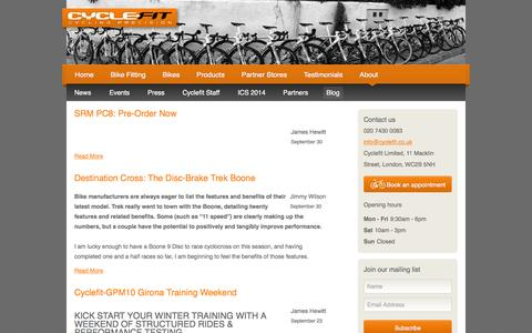 Screenshot of Blog cyclefit.co.uk - Cyclefit Bike Fitting Blog - captured Oct. 3, 2014