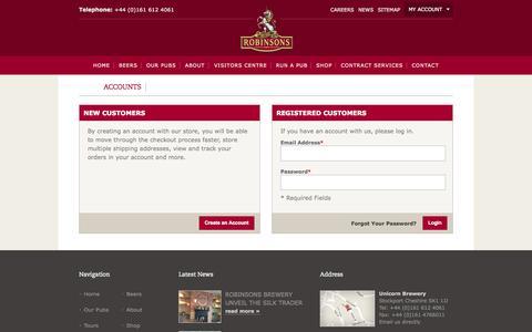 Screenshot of Login Page robinsonsbrewery.com - Customer Login - captured Sept. 24, 2014