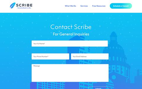Screenshot of Contact Page scribewriting.com - Contact Us | Scribe Writing - captured July 21, 2019