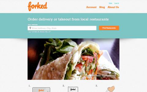 Screenshot of Home Page forked.com - FORKED | Food Delivery & Takeout from LA restaurants - captured Sept. 18, 2014