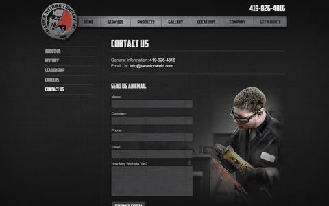 Screenshot of Contact Page swantonweld.com - Contact Us   Swanton Welding Company - captured Oct. 6, 2014