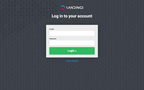 Screenshot of Login Page landingi.com - Landingi - captured July 6, 2016