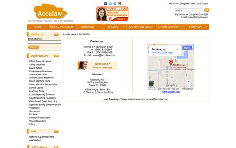 Screenshot of Support Page acculaw.com - Contact Us - captured Sept. 24, 2014