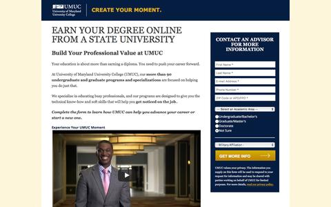 Screenshot of Landing Page umuc.edu - Bachelor's or Master's Degrees | UMUC - captured Oct. 16, 2016
