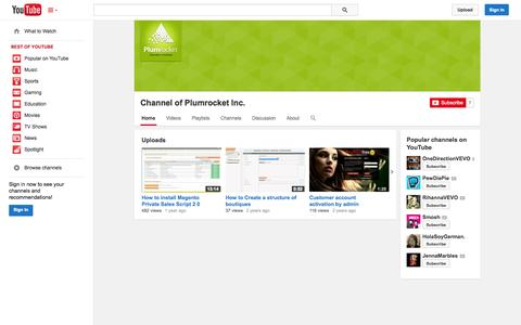 Screenshot of YouTube Page youtube.com - Channel of Plumrocket Inc.  - YouTube - captured Oct. 23, 2014