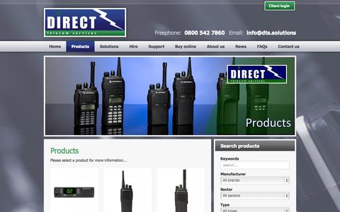 Screenshot of Products Page dts.solutions - Direct Telecom Services - Products - captured Nov. 3, 2014