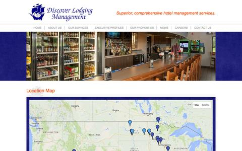Screenshot of Locations Page discoverlodging.net - Discover Lodging Management | Hotel Location Map - captured Feb. 9, 2016