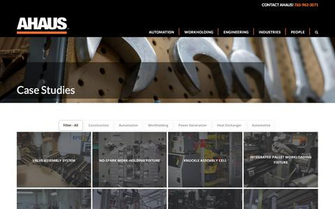 Screenshot of Case Studies Page ahaus.com - Case Studies - Ahaus Tool and Engineering - captured Oct. 7, 2017