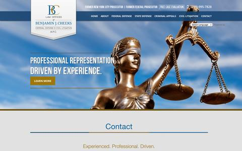 Screenshot of Contact Page bencheekslaw.com - San Diego Criminal Defense & Civil Litigation – Law Offices of Benjamin J. Cheeks - captured Oct. 2, 2014