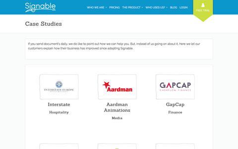 Screenshot of Case Studies Page signable.co.uk - Case Studies - Signable - captured April 17, 2018
