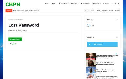 Screenshot of Login Page cloudbestpractices.net - Lost Password - CBPN - captured Sept. 28, 2018