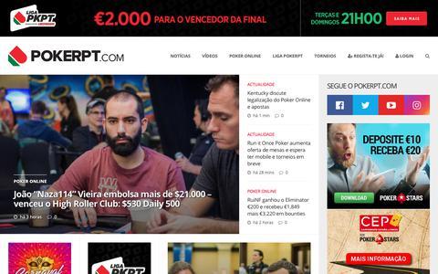 Screenshot of Home Page pokerpt.com - PokerPT: Comunidade de Poker Online em Portugal - captured Feb. 12, 2019