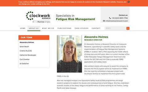 Screenshot of Team Page clockworkresearch.com - Our Team - Clockwork Research - Specialists in Fatigue Risk Management - captured Dec. 15, 2018
