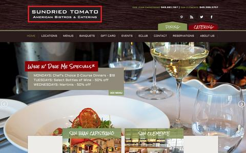 Screenshot of Home Page sundriedtomatocafe.com - American Bistro & Catering / SUNDRIED TOMATO / San Clemente / San Juan Capistrano / Laguna Beach - captured Sept. 30, 2014