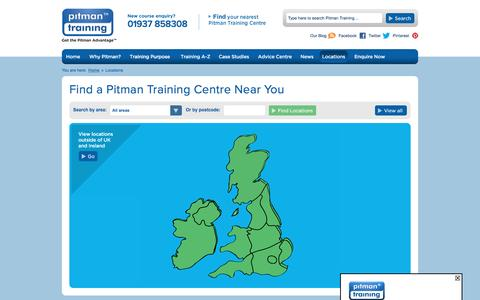 Screenshot of Locations Page pitman-training.com - Pitman Training Centre Locations | Centres across the UK and Ireland - captured Nov. 7, 2016