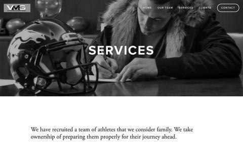 Screenshot of Services Page vmgsports.com - Services — VMG - captured Dec. 20, 2018