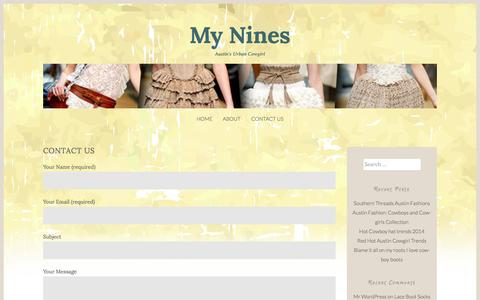 Screenshot of Contact Page mynines.com - Contact Us | My Nines - captured July 3, 2015