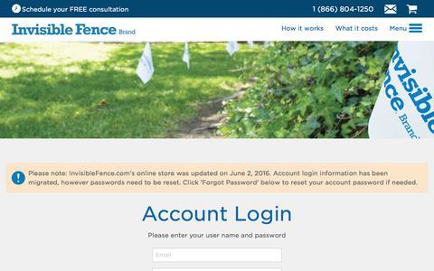 Screenshot of Login Page invisiblefence.com - The Invisible Fence® Brand Official Website - The Invisible Fence® Brand - captured Aug. 27, 2016