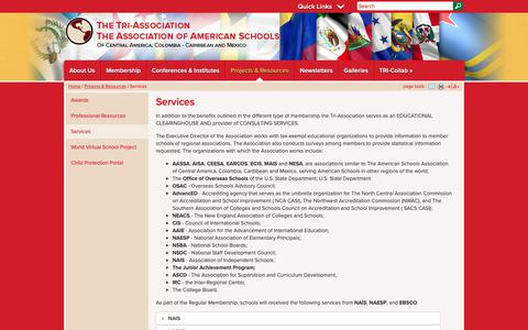Screenshot of Services Page tri-association.org - Tri Association: Services - captured Oct. 22, 2018