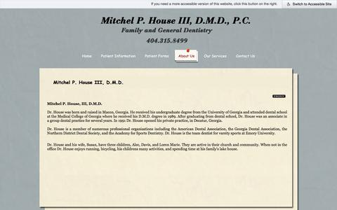 Screenshot of About Page housedmd.com - Dr. Mitchel P. House, III, Decatur Dentist, GA - captured July 4, 2018