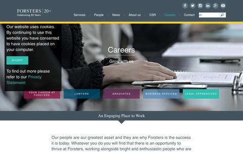 Screenshot of Jobs Page forsters.co.uk - Careers | Forsters LLP | Leading Mayfair law firm - captured Aug. 20, 2018