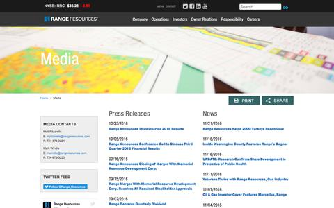 Screenshot of Press Page rangeresources.com - Range Resources - Media - captured Nov. 28, 2016