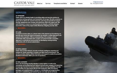 Screenshot of Services Page castorvali.com - Services | Castor Vali : Providing Security  |  Delivering Safety - captured Sept. 29, 2014
