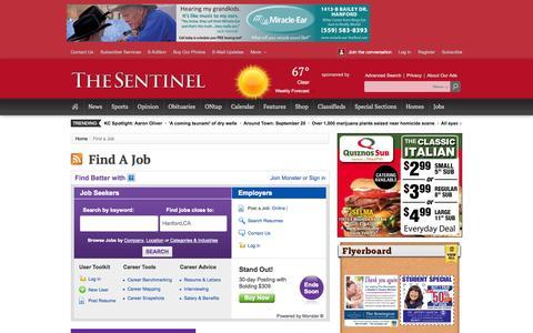 Screenshot of Jobs Page hanfordsentinel.com - Find a Job - captured Sept. 23, 2014