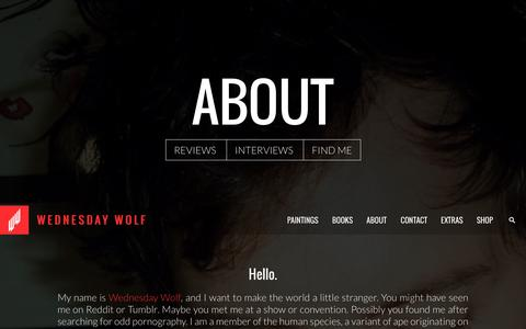 Screenshot of About Page wednesdaywolf.com - Wednesday Wolf - captured Oct. 7, 2014