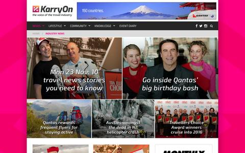 Screenshot of Press Page karryon.com.au - Industry News Archives - KarryOn - captured Nov. 23, 2015
