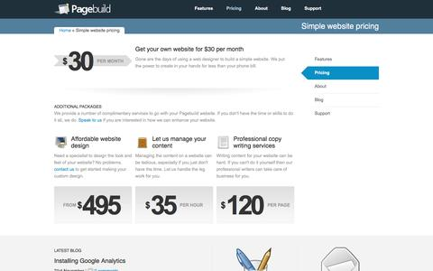 Screenshot of Pricing Page pagebuild.net - Simple website pricing | Pagebuild Website Builder - captured July 15, 2018