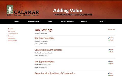 Screenshot of Jobs Page calamar.com - Job Board - View Job Postings - captured May 11, 2017
