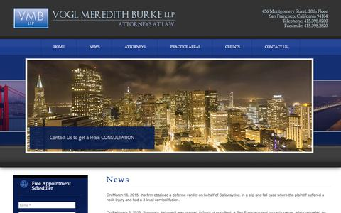Screenshot of Press Page vmbllp.com - News | Call Now 415.398.0200 | Vogl Meredith Burke LLP: Attorneys at law - captured Oct. 19, 2018