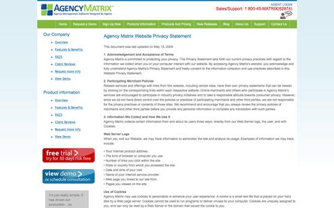 Screenshot of Privacy Page agencymatrix.com - Privacy | Agency Matrix - Insurance Agency Software - Affordable Software for Insurance Agents - captured Dec. 24, 2015