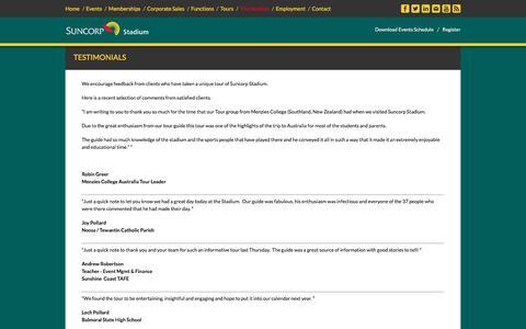 Screenshot of Testimonials Page suncorpstadium.com.au - Suncorp Stadium :: The Stadium - Testimonials - captured June 22, 2017