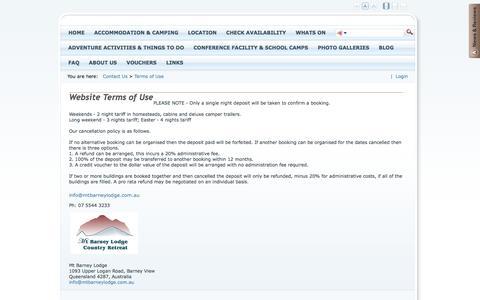 Screenshot of Terms Page mtbarneylodge.com.au - Mt Barney Lodge > Contact Us > Terms of Use - captured Nov. 5, 2014