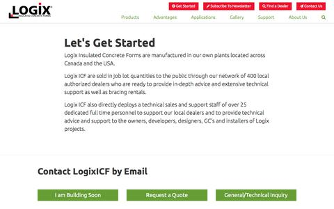 Screenshot of Contact Page logixicf.com - Logix ICF | Let's Get Started - captured Sept. 1, 2017