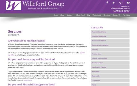 Screenshot of Services Page thewillefordgroup.com - Dental CPA in Atlanta | Willeford Group | Services - captured Oct. 18, 2018