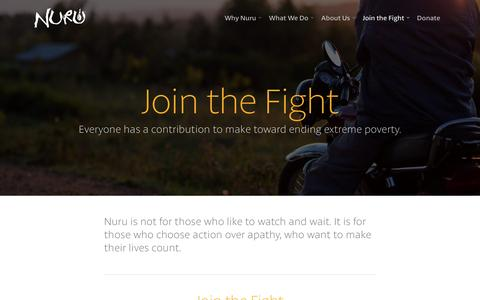 Screenshot of Signup Page nuruinternational.org - Join the Fight |  Nuru International - captured Jan. 20, 2016