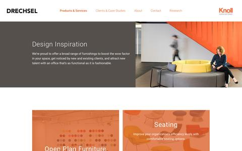 Screenshot of Services Page drechsel.com - Products & Services - Drechsel Business Interiors - captured Nov. 24, 2016