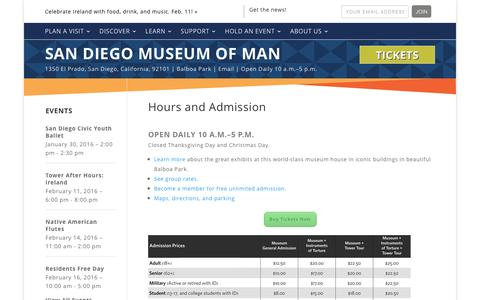 Screenshot of Pricing Page Hours Page museumofman.org - Hours and Admission - San Diego Museum of Man - captured Jan. 24, 2016