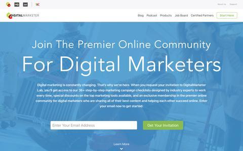 Screenshot of Home Page digitalmarketer.com - DigitalMarketer | Marketing Strategies That Actually Work - captured March 10, 2018