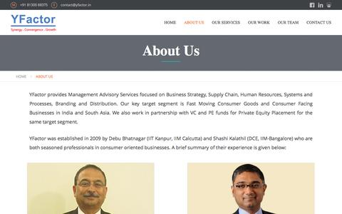 Screenshot of About Page yfactor.in - YFactor :: FMCG, CPG, Management Consultant, Management Advisory, India, Amritt, Distribution, Marketing, Consultancy, Supply Chain, HR, Strategy, Strategic Consultants :: - captured Feb. 3, 2016