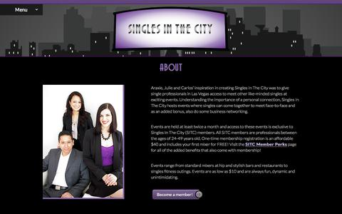 Screenshot of About Page singlesinthecityvegas.com - About - Dating for Single Professionals in Las Vegas - captured Oct. 1, 2014