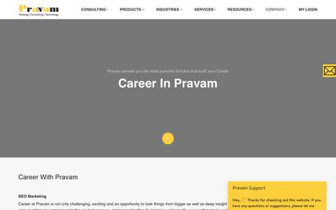 Screenshot of Jobs Page pravam.com - Career- Pravam Pte Ltd - captured July 21, 2018