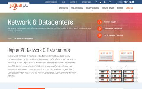 Screenshot of jaguarpc.com - Network and Datacenters - Jaguarpc - captured Dec. 9, 2016