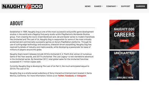 Screenshot of About Page naughtydog.com - Naughty Dog | Naughty Dog - captured Sept. 21, 2018